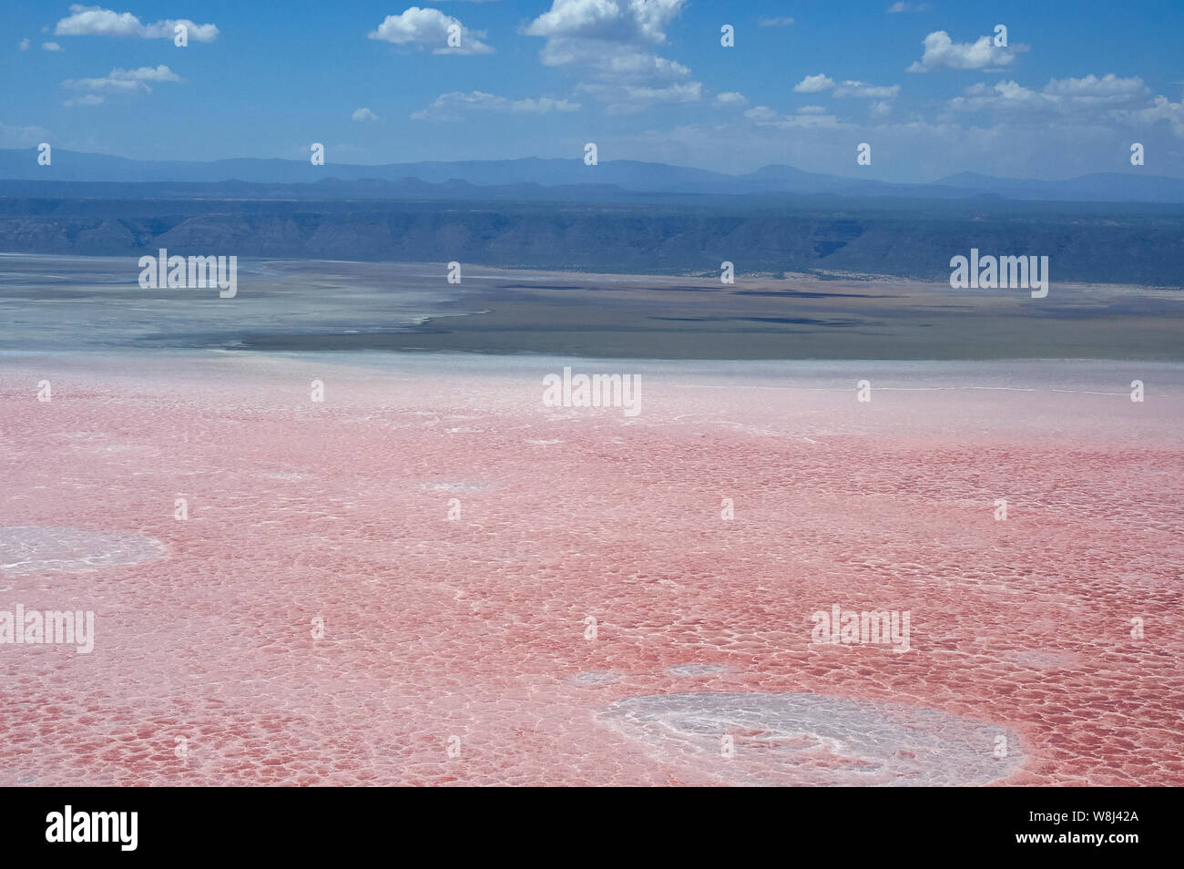 Photosynthesizing pigments of the microorganism cyanobacteria turns Lake Natron into amazing red color (aerial view) Stock Photo