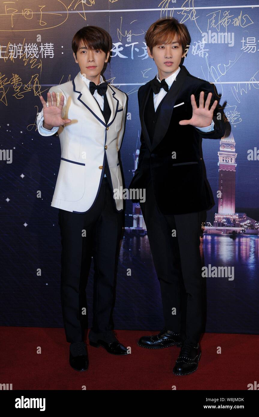 Lee Donghae Left And Eunhyuk Of South Korean Pop Group Super Junior Pose On The Red Carpet As They Arrive For The 15th Huading Award Global Performa Stock Photo Alamy