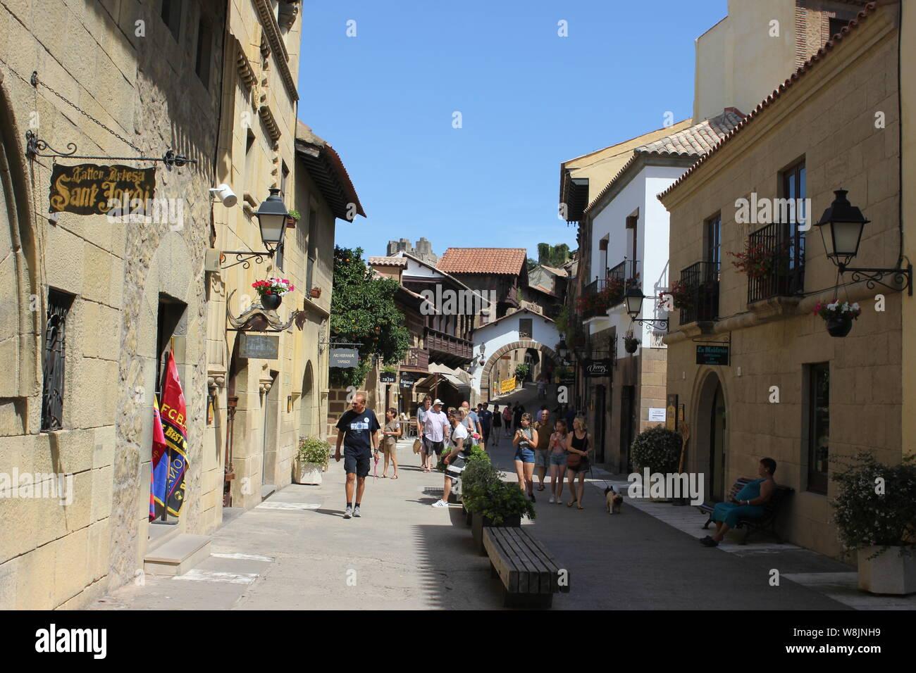 Spanish village , Poble Espanyol , The open air museum complex Poble Espanyol Barcelona Spain Stock Photo