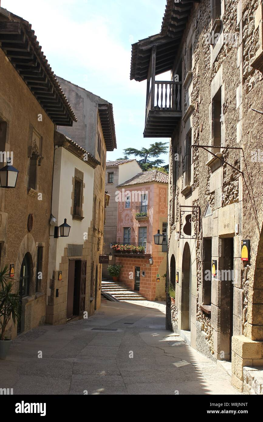 Spanish village , Poble Espanyol , The open air museum complex Poble Espanyol Barcelona Spain Stock Photo