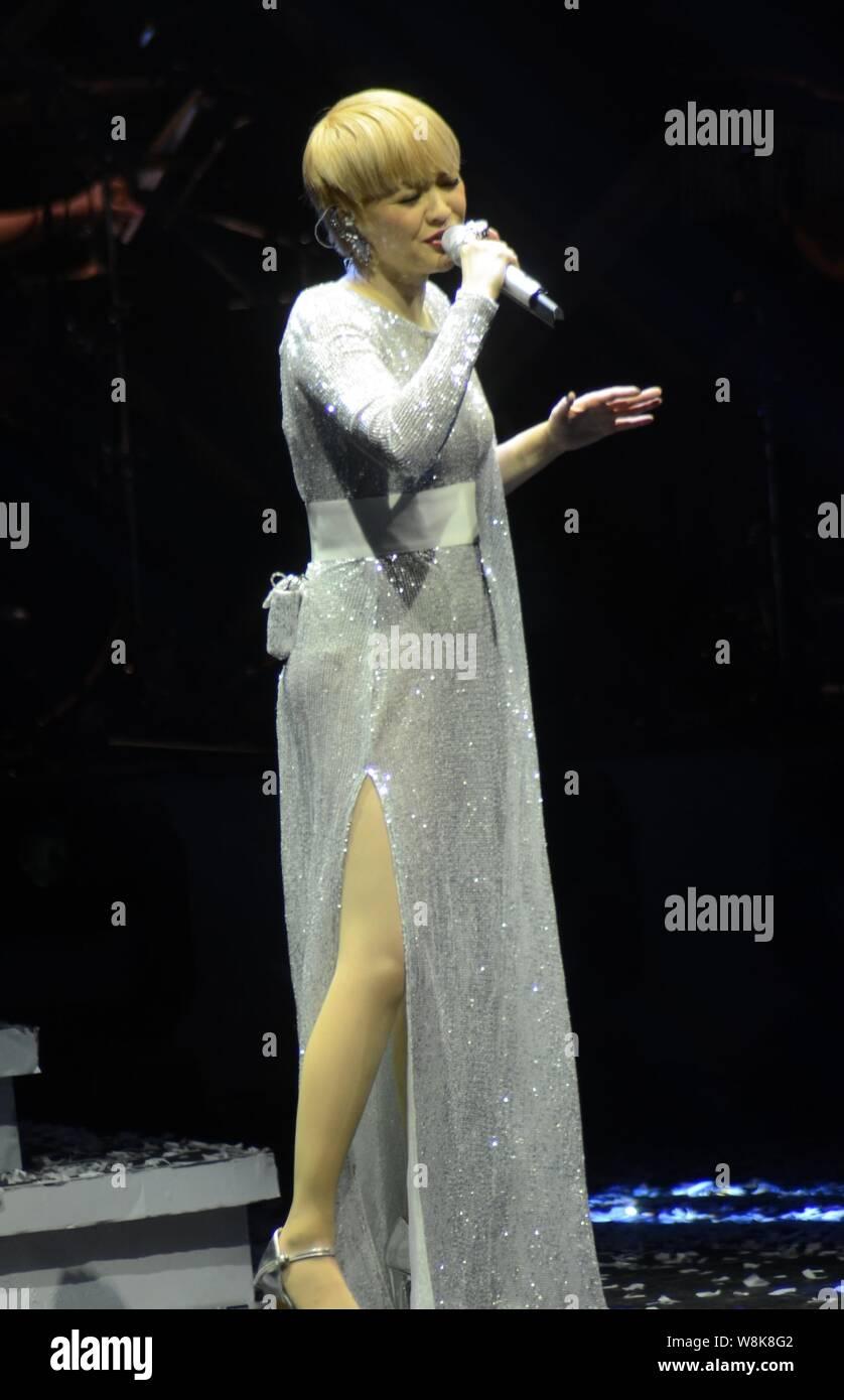 Hong Kong singer Priscilla Chan performs during the concert