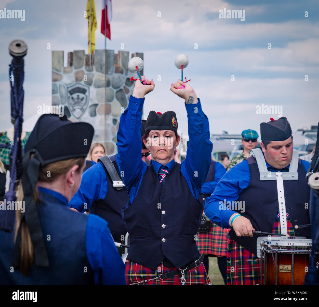 Fergus, Ontario, Canada - 08 11 2018: Drummer of the Hamilton Police Pipes and Drums band paricipating in the Pipe Band contest held by Pipers and Pip Stock Photo