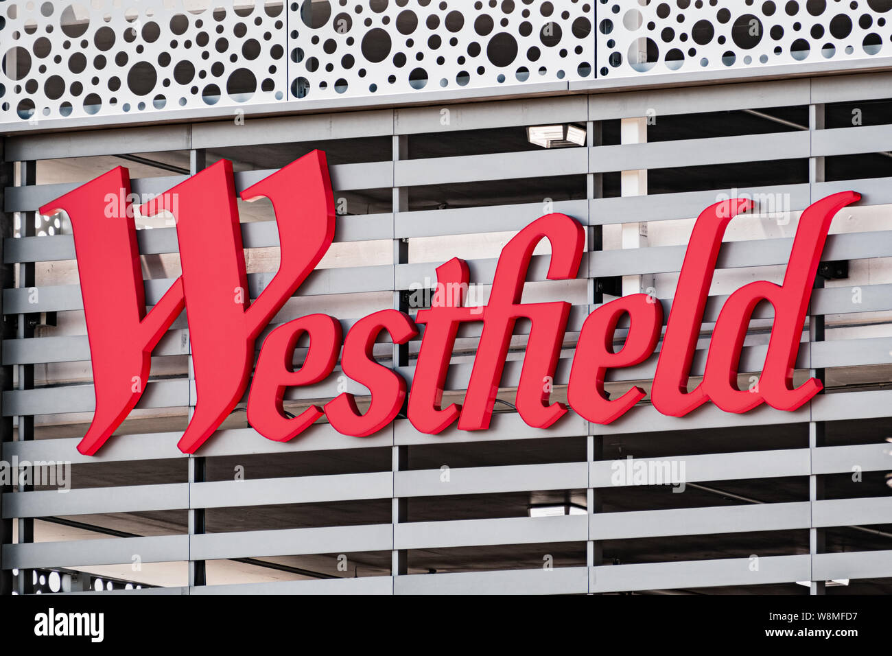 August 9, 2019 San Jose / CA / USA - Close up of Westfield Valley Fair Mall logo; San Francisco bay area Stock Photo