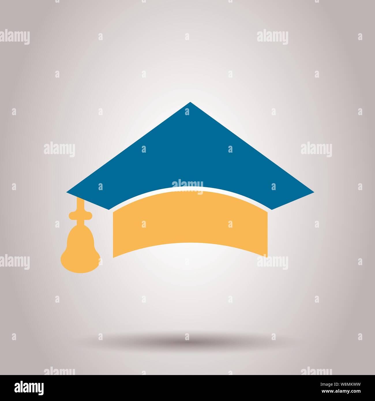 Graduation cap icon in transparent style. Education hat ...