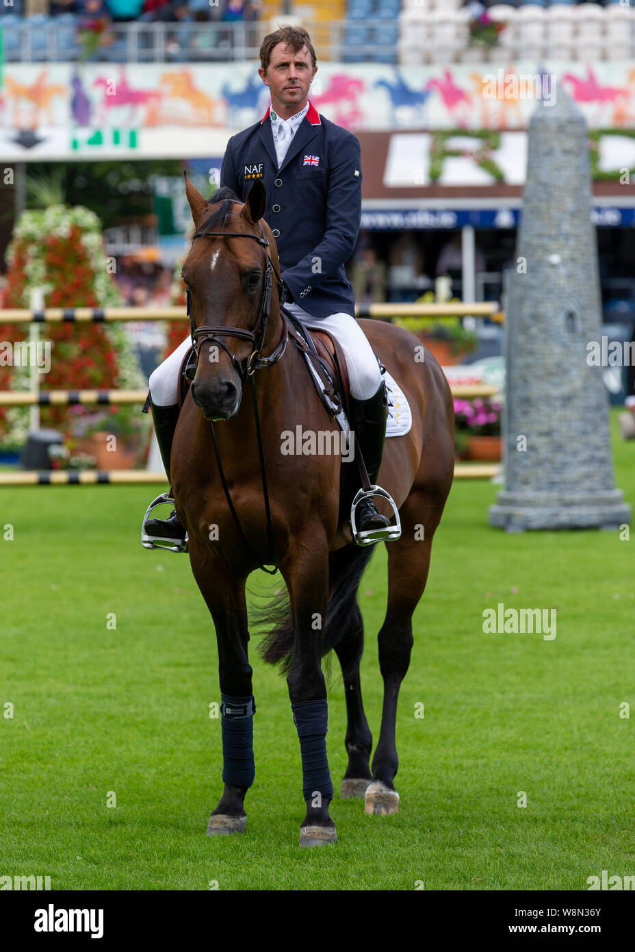 Dublin, Ireland 09 august 2019. Ben Mahar for Team GB compete for the Aga Khan Cup in the Longines Nations Cup Show Jumping at the RDS Dublin Horse Show. Credit: John Rymer/Alamy Live News Stock Photo