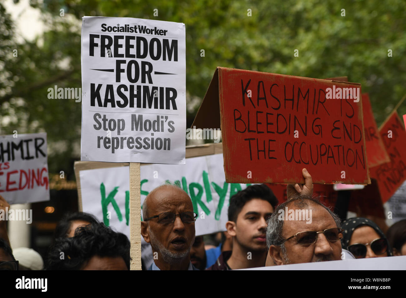 London, UK. 10th Aug, 2019. Hundreds Kashmiris protest India terrorists and Indian army occupation revoke article 370 and 35A. The same language Israel apartheid in Palestine outside India Embassy London, The entire world suffering, chaos and bloodshed is the creation of the west Pro-Demon-cracy, human rights and Freedom on the expenses of nonwhite people and nation on 20 August 2019, UK. Credit: Picture Capital/Alamy Live News Stock Photo