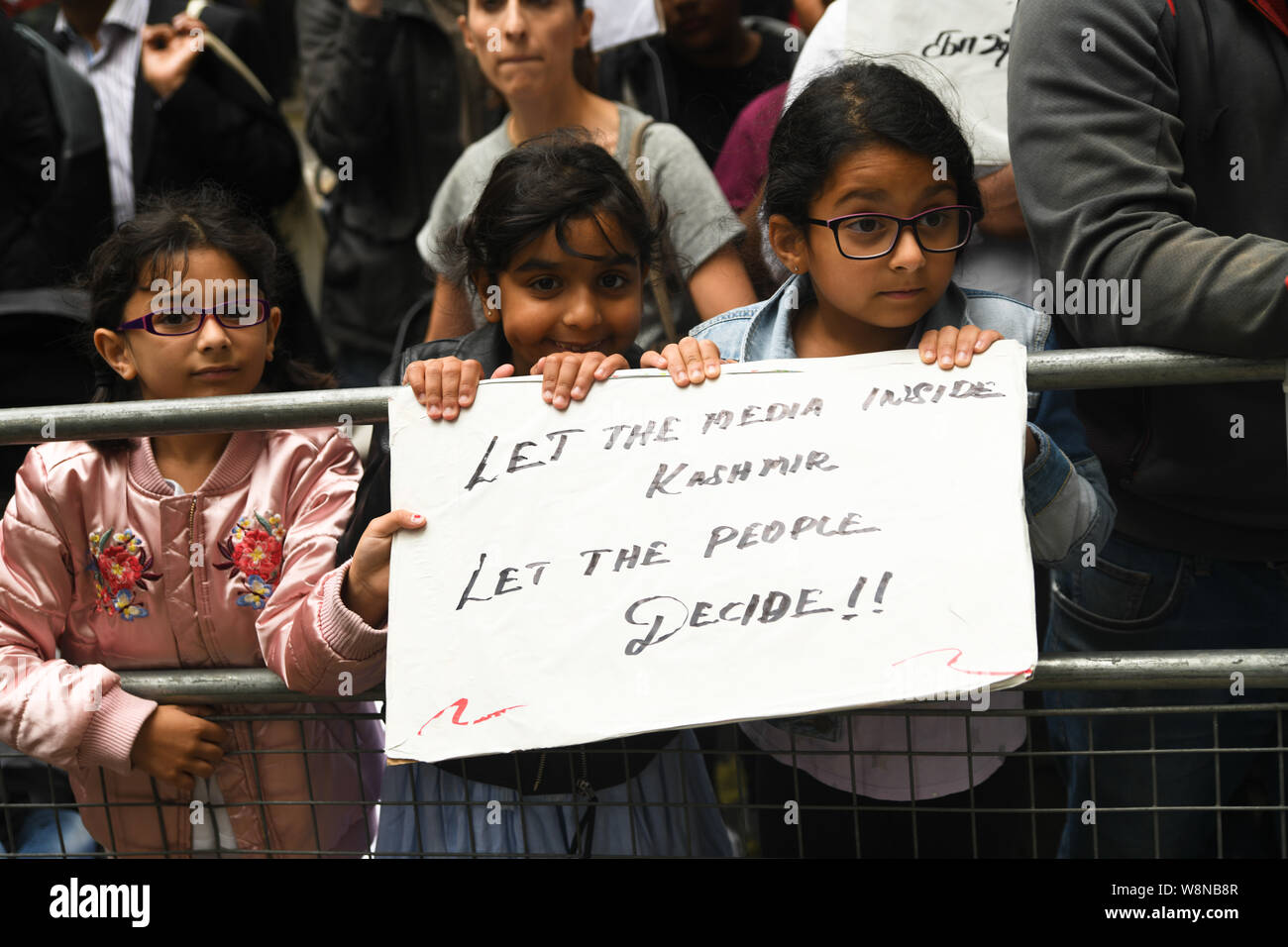London, UK. 10th Aug, 2019. Hundreds Kashmiris protest India terrorists and Indian army occupation revoke article 370 and 35A. The same language Israel apartheid in Palestine outside India Embassy London, How can a human being do harm to this beautiful children? on 20 August 2019, UK. Credit: Picture Capital/Alamy Live News Stock Photo