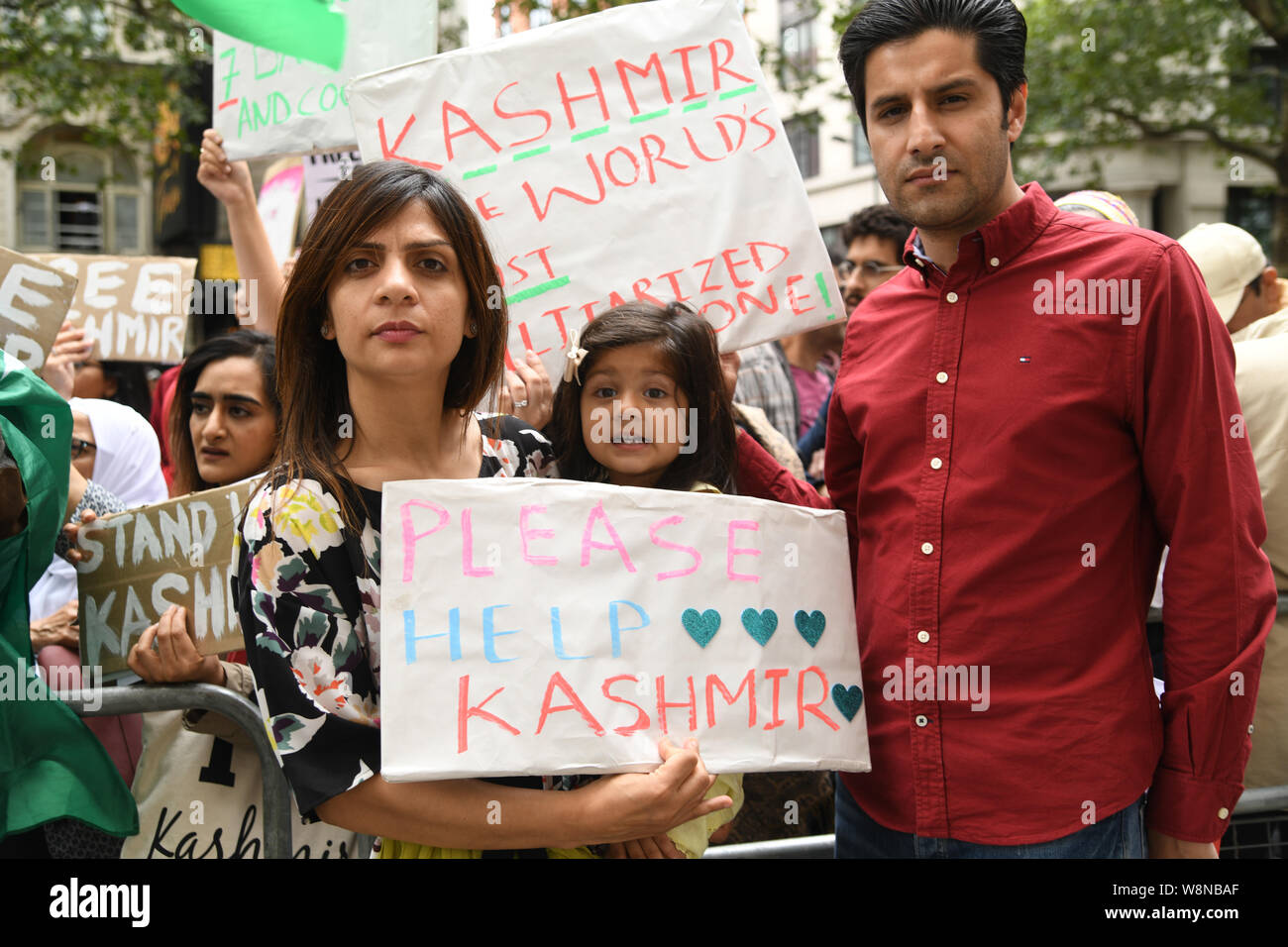 London, UK. 10th Aug, 2019. Hundreds Kashmiris protest India terrorists and Indian army occupation revoke article 370 and 35A. The same language Israel apartheid in Palestine outside India Embassy London, THow can a human being harm this beautiful children? on 20 August 2019, UK. Credit: Picture Capital/Alamy Live News Stock Photo