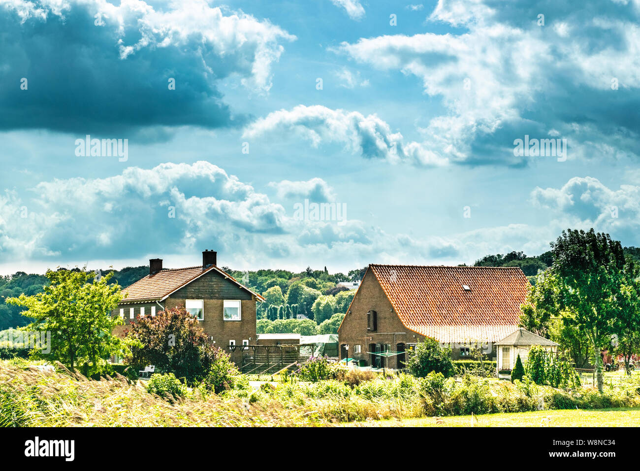 A traditional Dutch farm family house in a typical dutch landscape, The photograph was taken in summer in the Ooijpolder Stock Photo