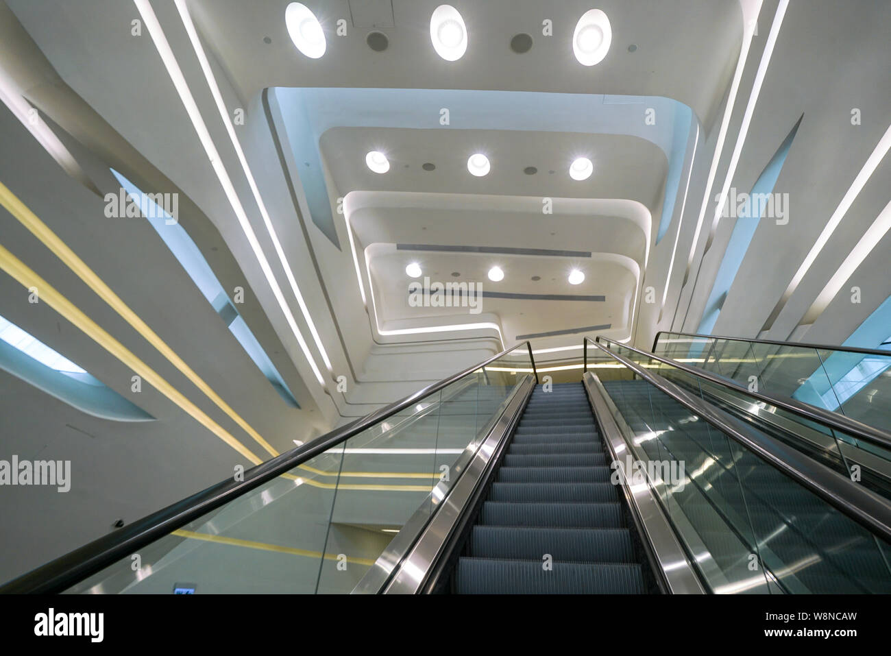 Hong Kong-15th March 2018: The interior of Polyu School of Design Jockey Club Innovation Tower in Hong Kong, a building of the HK Polytechnic Universi Stock Photo