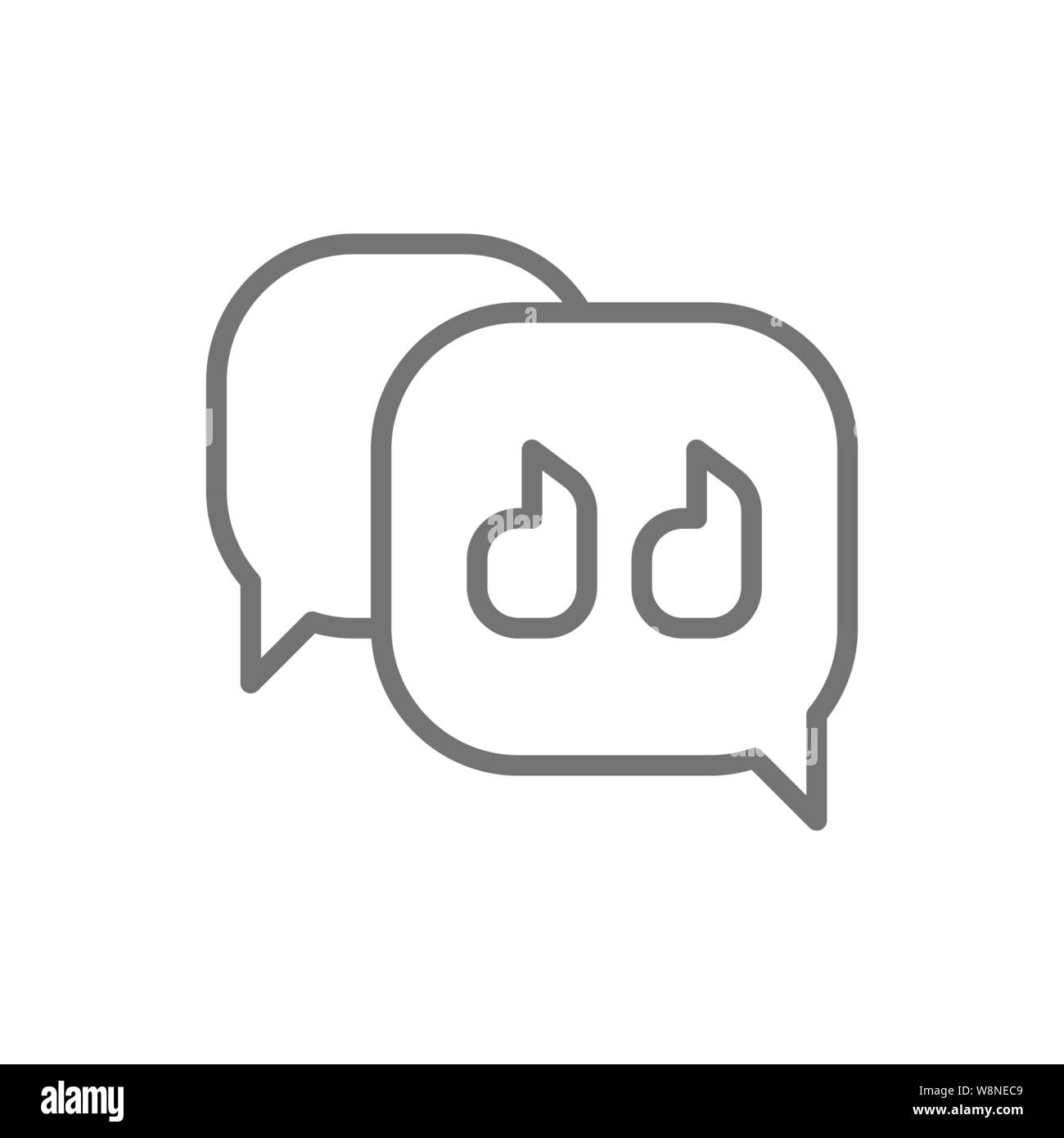 Text message, quote, speech bubble line icon Stock Vector