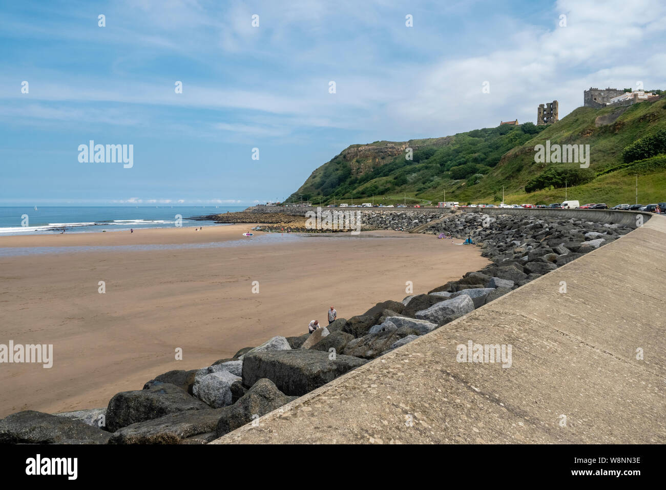 03/08/2019, Scarborough, North Yorkshire, Uk People at Scarborough beach enjoying a day at thbe seaside on a hot August summers day Stock Photo