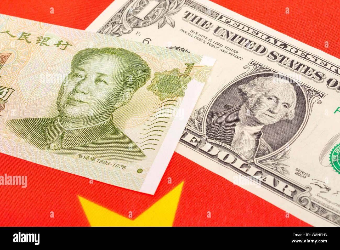 Close Up Shot U S 1 Dollar Bill Banknote Chinese 1 Yuan Renminbi China Flag Metaphor Us China Trade War Currency War Currency Manipulation Stock Photo Alamy