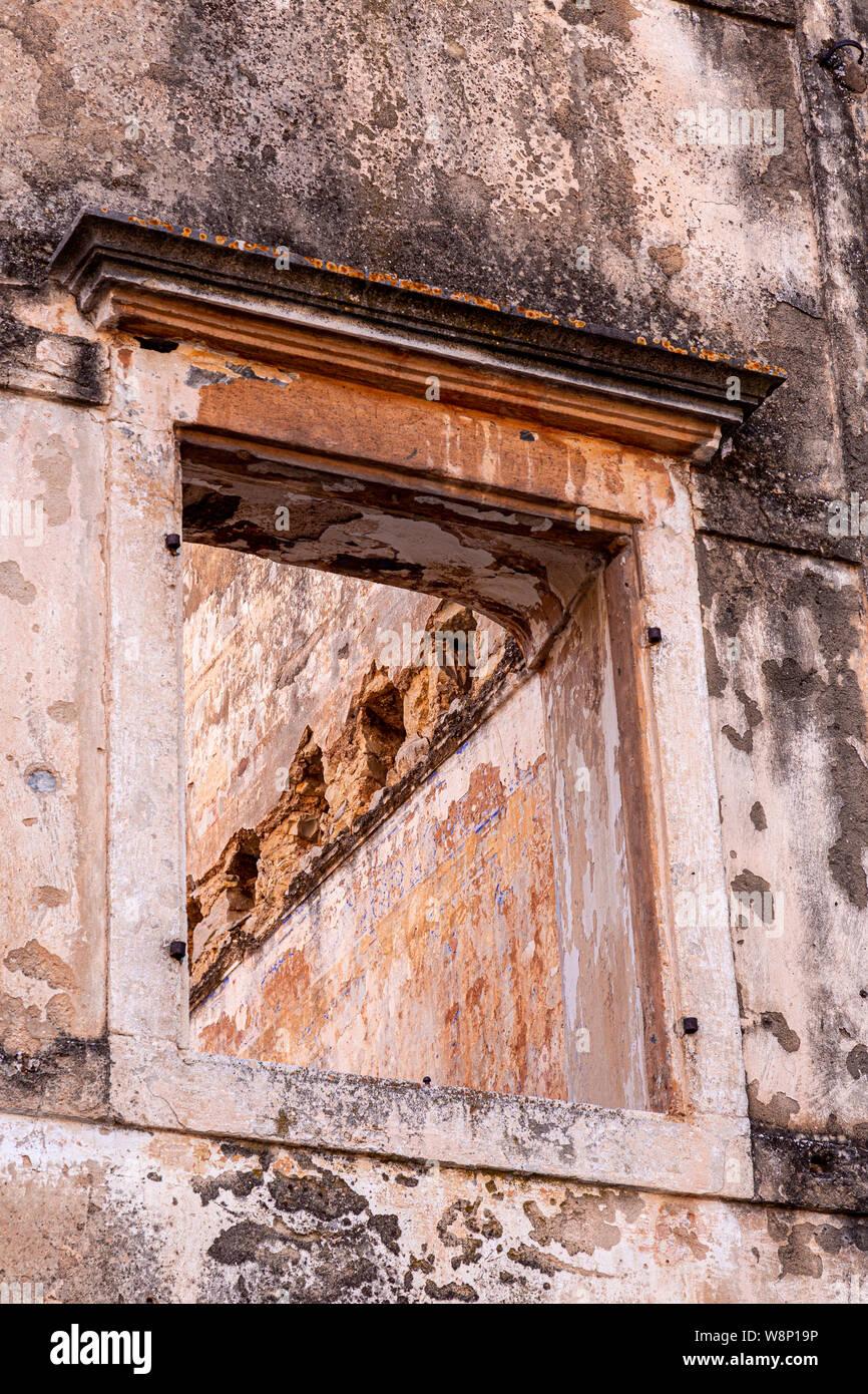 Window in a derelict building at Skradin, Croatia Stock Photo