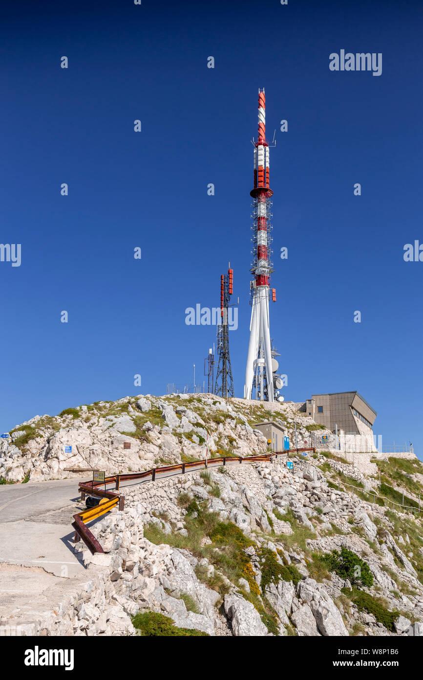 Radio mast on the summit of Sveti Jure mountain, Croatia Stock Photo