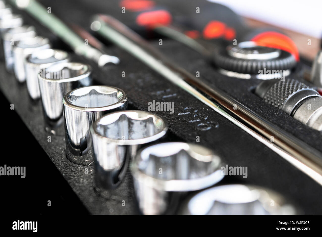 Close up viw of a Garage Tool Box. Set of Tools. Tool Box for Construction. Tool to repair the car or replace automotive spare parts. Stock Photo
