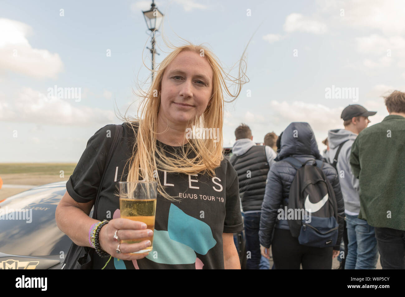 Southend on Sea, UK. 10th Aug, 2019. Cians mother, Hayley. Friends and family of Cian Daly, one of five people who passed away at the end of July in suspected drugs-related deaths in South Essex, meet for a memorial ride on Southend seafront before heading to Leigh on Sea for a balloon release. Penelope Barritt/Alamy Live News Stock Photo