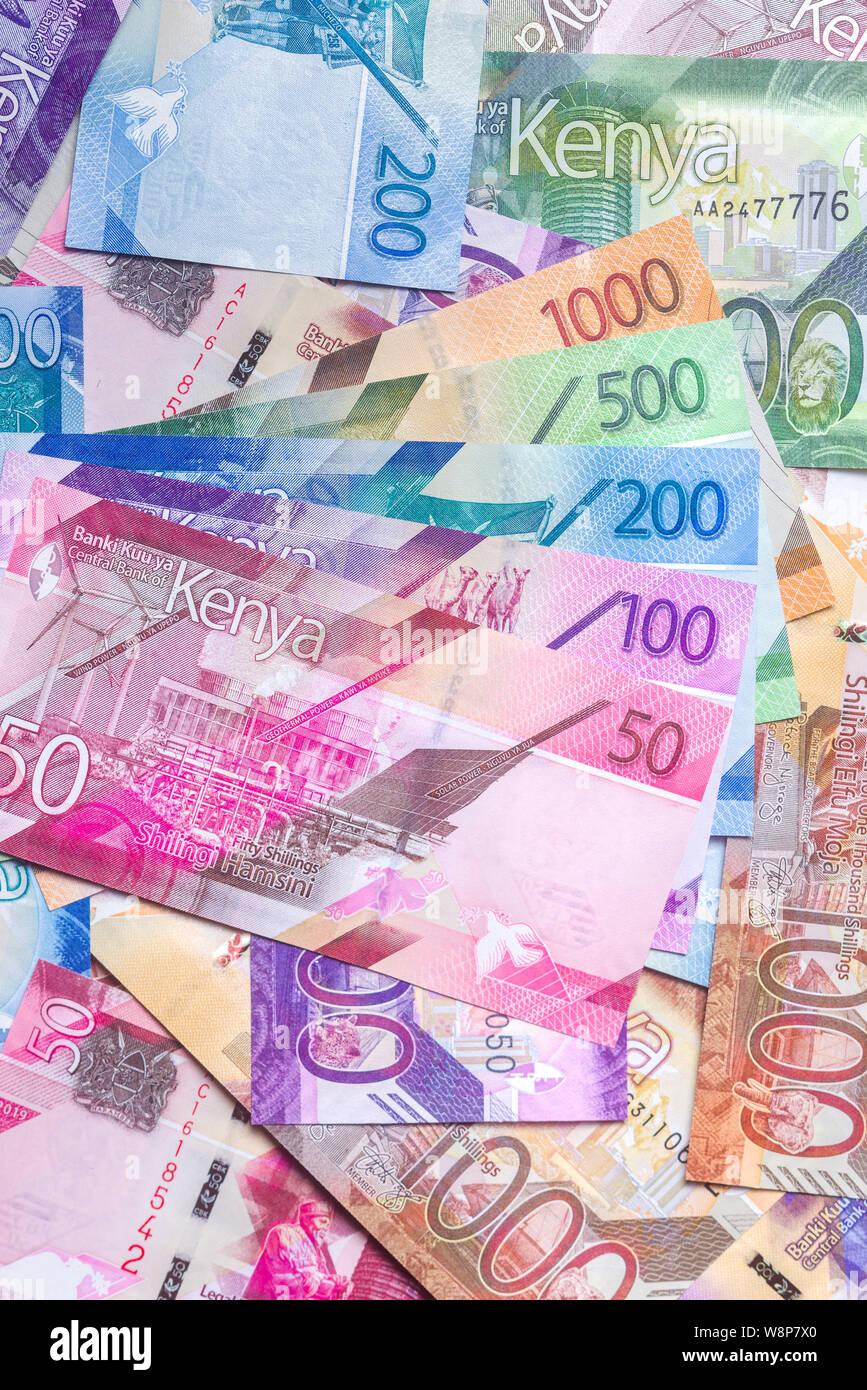 New 2019 Kenyan Shilling bank notes in various denominations Stock Photo