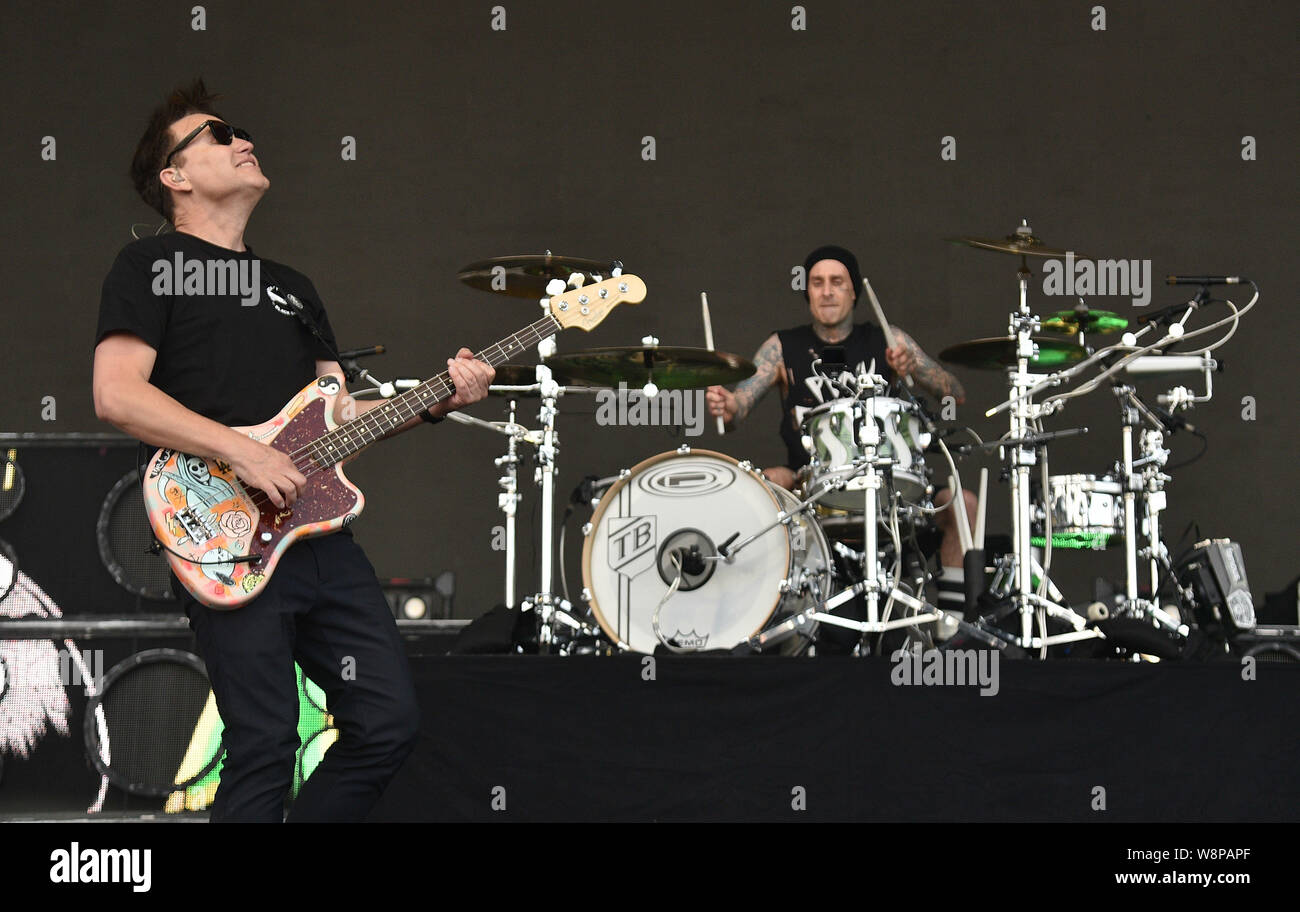 SanFrancisco, USA. 09th August, 2019. Blink 182 - Mark Hoppus and Travis Barker perform during the 2019 Outside Lands music festival at Golden Gate Park on August 09, 2019 in San Francisco, California. Photo: imageSPACE/MediaPunch Credit: MediaPunch Inc/Alamy Live News Stock Photo
