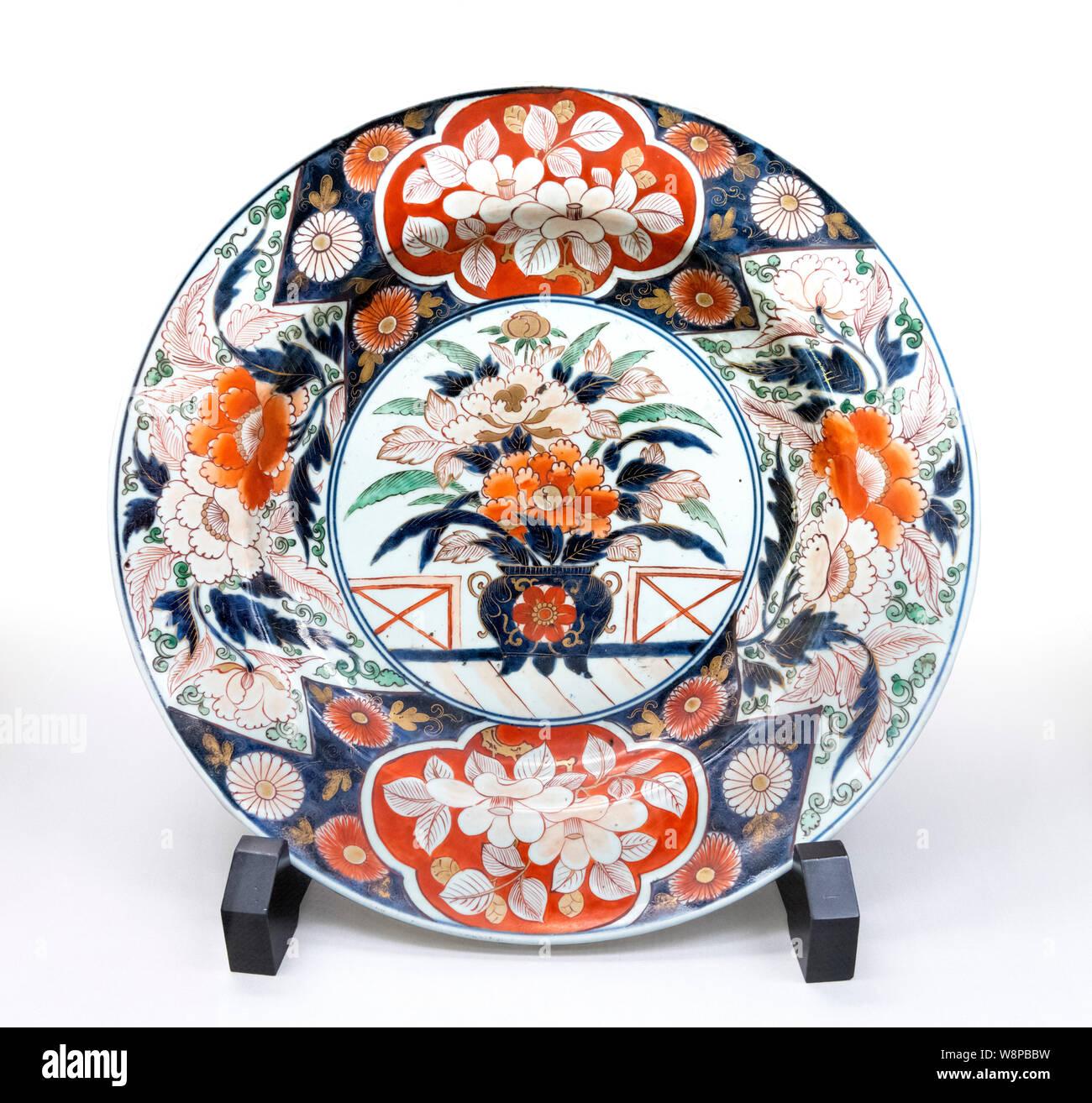 Antique Imari Ironstone Dinner Bowl Circa 1860 Edo Period Blue /& White VERY NICE