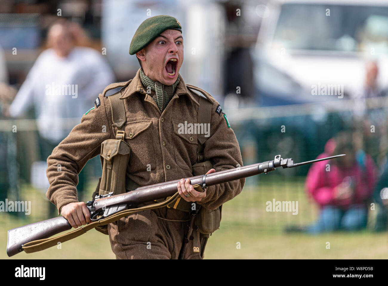Echoes of History military show at Purleigh, Essex, UK organised by the Essex Historic Military Vehicle Association. Re-enacting bayonet practice Stock Photo