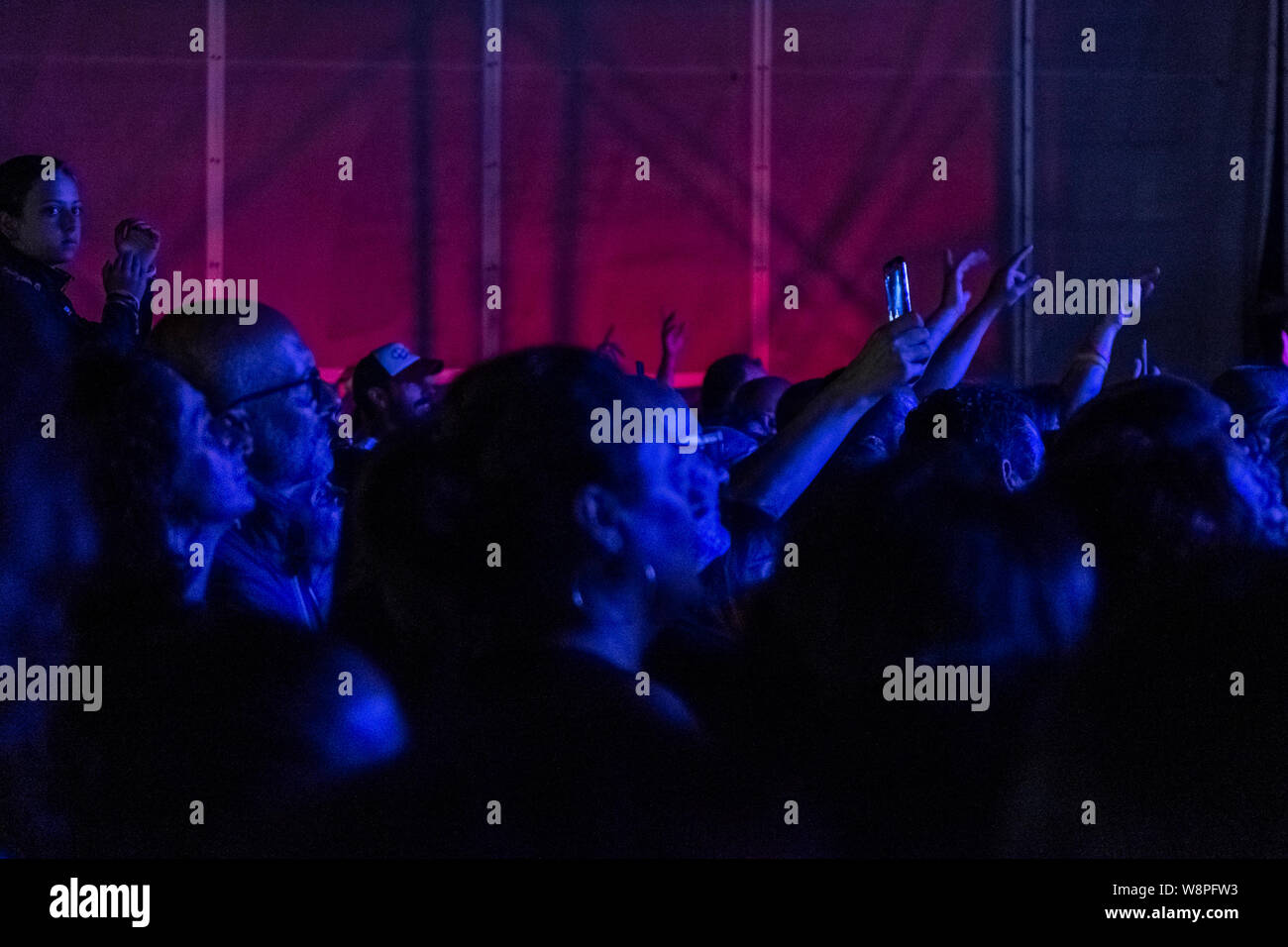 "Italian singer and songwriter Luca Carboni, performs live on stage at Cantina dei Colli Ripani in Ripatransone during his ""Sputnik Tour 2019"". Stock Photo"