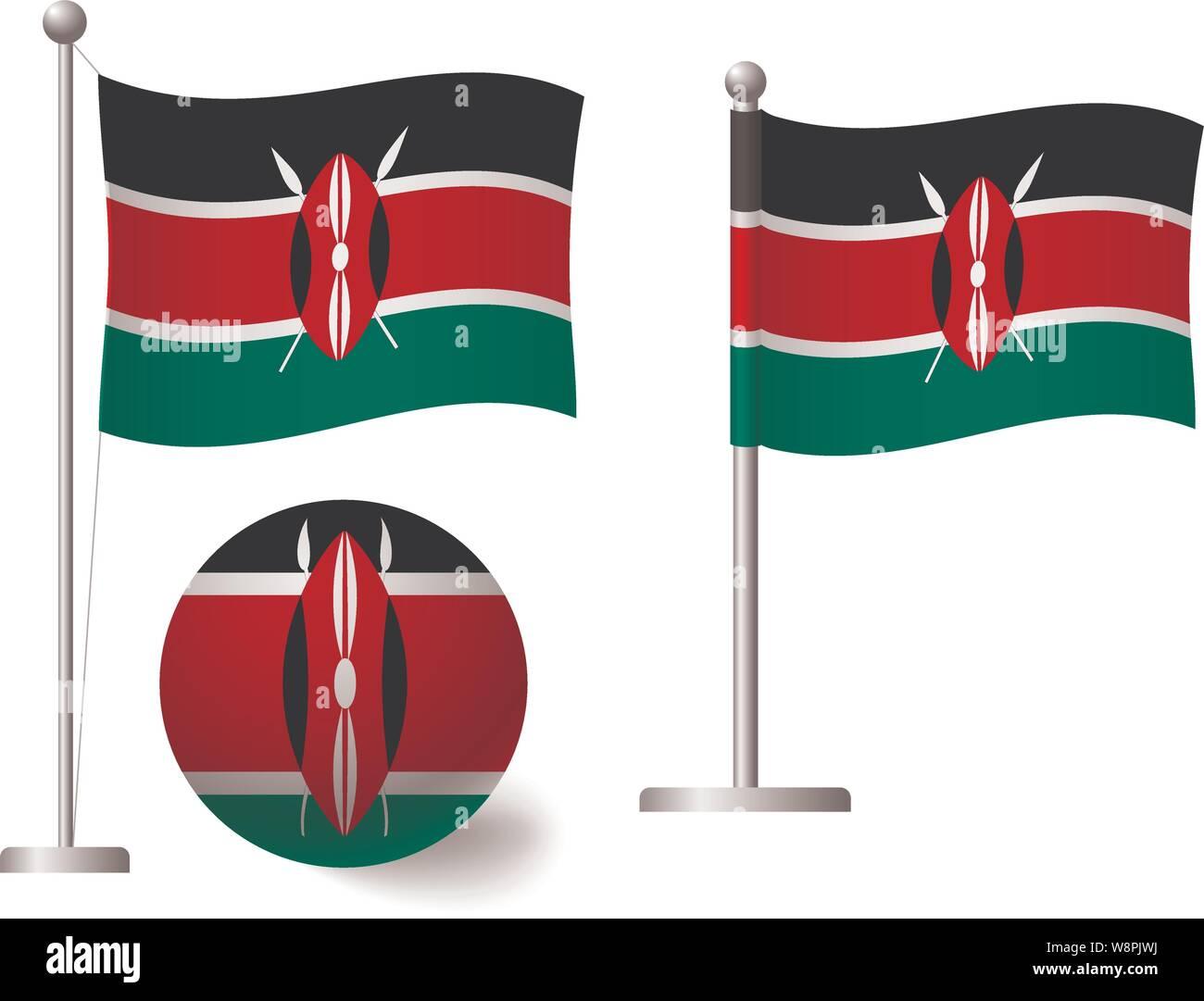 Kenya flag on pole and ball. Metal flagpole. National flag of Kenya vector illustration Stock Vector