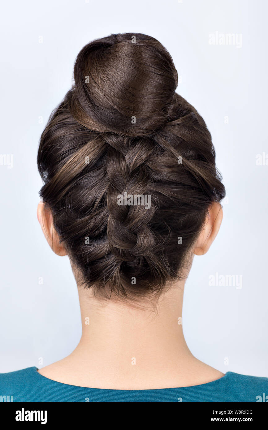 Modern Hairstyle For Long Hair Reverse Braided Bun Upside Down French Plait Stock Photo Alamy