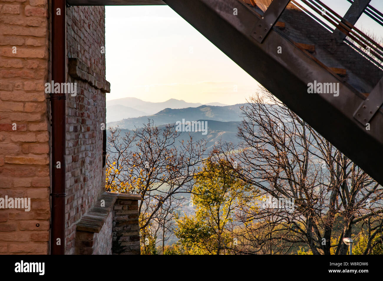 View of hills and trees from Montefabbri a little village of the Montefeltro in  the Italian Marche region Stock Photo