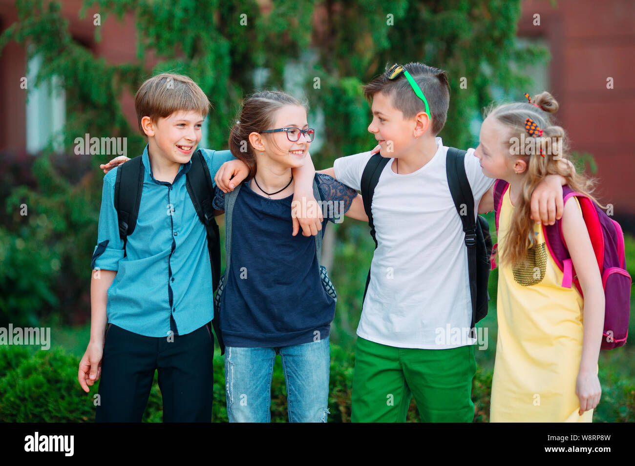 Children S Friendship Four Little School Students Two Boys And