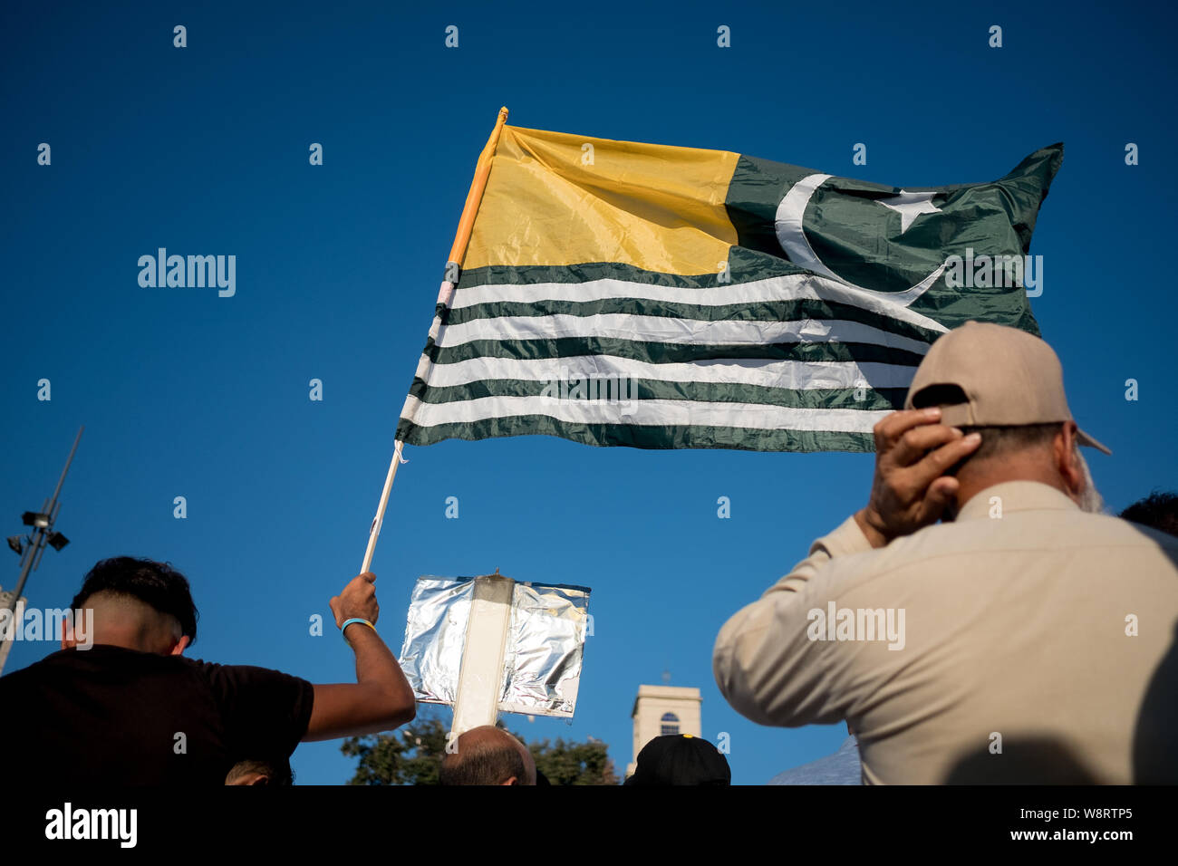 Barcelona, Spain - 10 august 2019: Kashmir and pakistani nationals march and demonstrate against indian cancellation of autonomous region status with Stock Photo