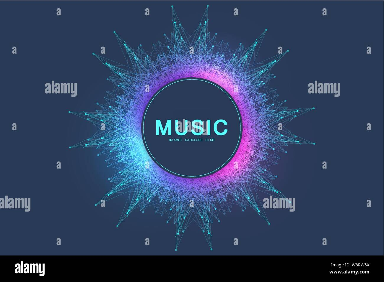 Colorful Music And Dance Night Party Banner Or Poster Background With Fractal Grid Radial Sound Wave Equalizer Vector Illustration Stock Vector Image Art Alamy