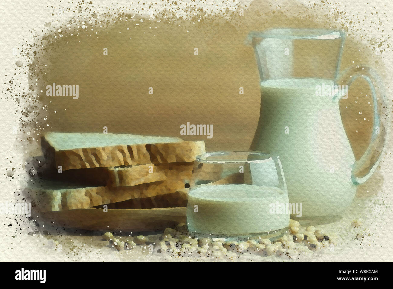 Wheat Bread And Soy Milk On Wooden Table Breakfast Time In Morning Digital Watercolor Painting Effect Stock Photo Alamy