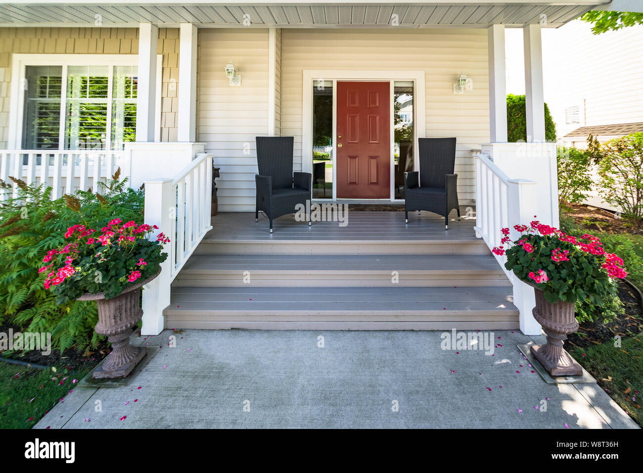 Door Steps And Concrete Pathway To Residential House Entrance Under The Porch Stock Photo Alamy