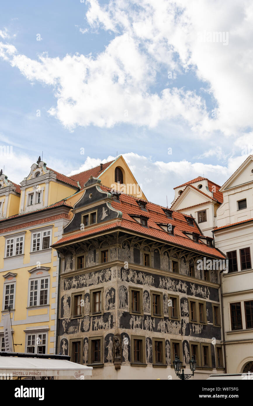 Prague, Czech Republic - September 22, 2018: Rainy autumn in Prague, beautiful old houses, the Czech Republic is a country in Central Europe Stock Photo