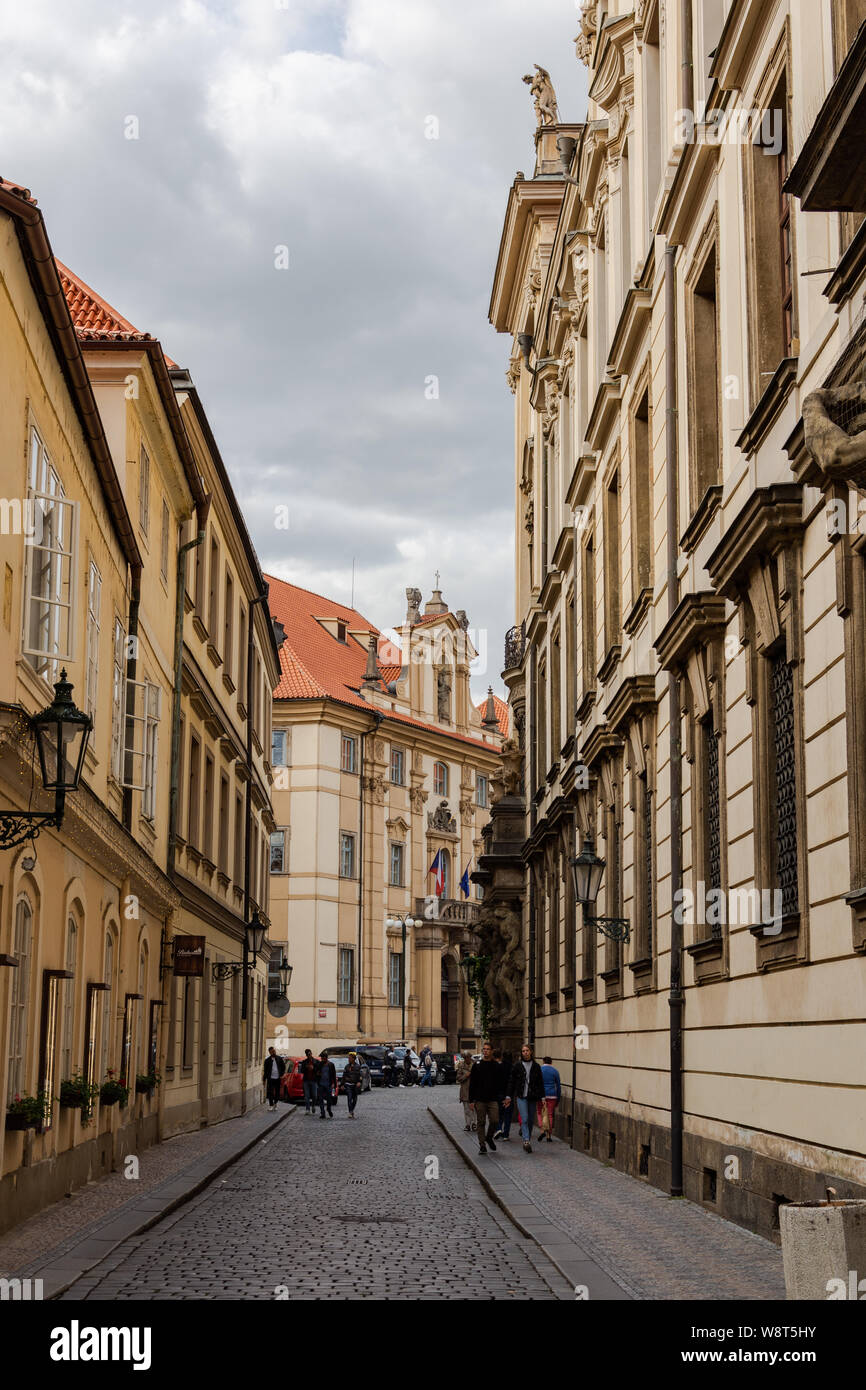 Prague, Czech Republic - September 22, 2018: Beautiful old houses in a rainy autumn in Prague, the Czech Republic is a country in Central Europe Stock Photo