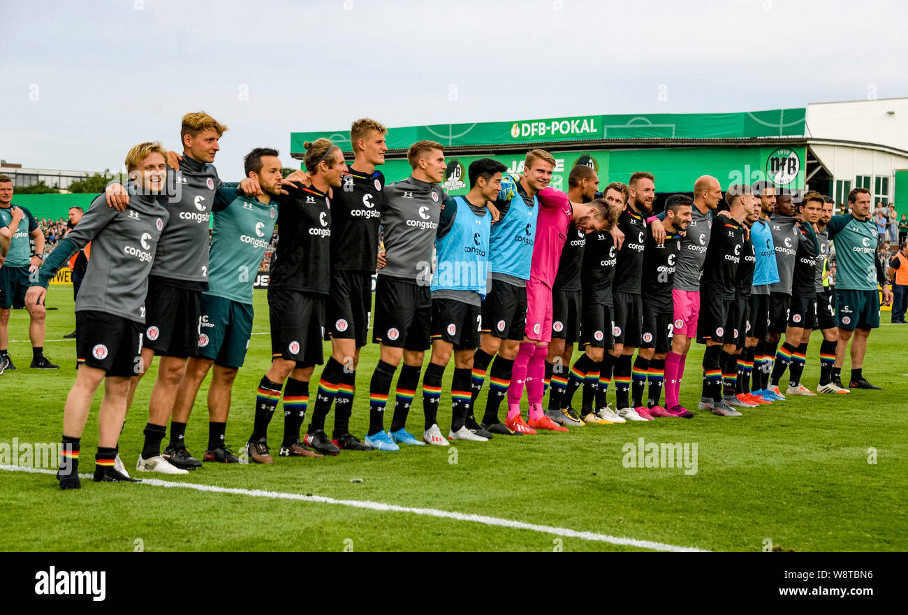 11 August 2019 Schleswig Holstein Lubeck Soccer Dfb Cup Vfb Lubeck Fc St Pauli 1st Round St Pauli S Players Celebrate Victory Photo Axel Heimken Dpa Important Note In Accordance With The Requirements