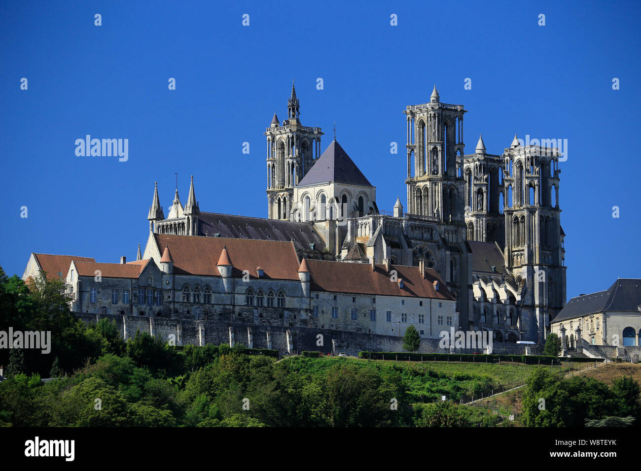 Cathedral of Notre Dame in Laon, Aisne, Northern France. Stock Photo