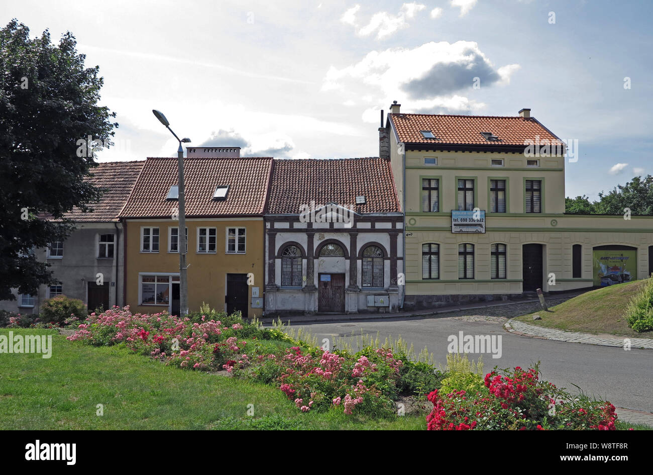 View on prewar civil houses in the city of Ketrzyn (Rastenburg) in the Polish Masurian (former East Prussia), recorded on 15.07.2019 | usage worldwide Stock Photo