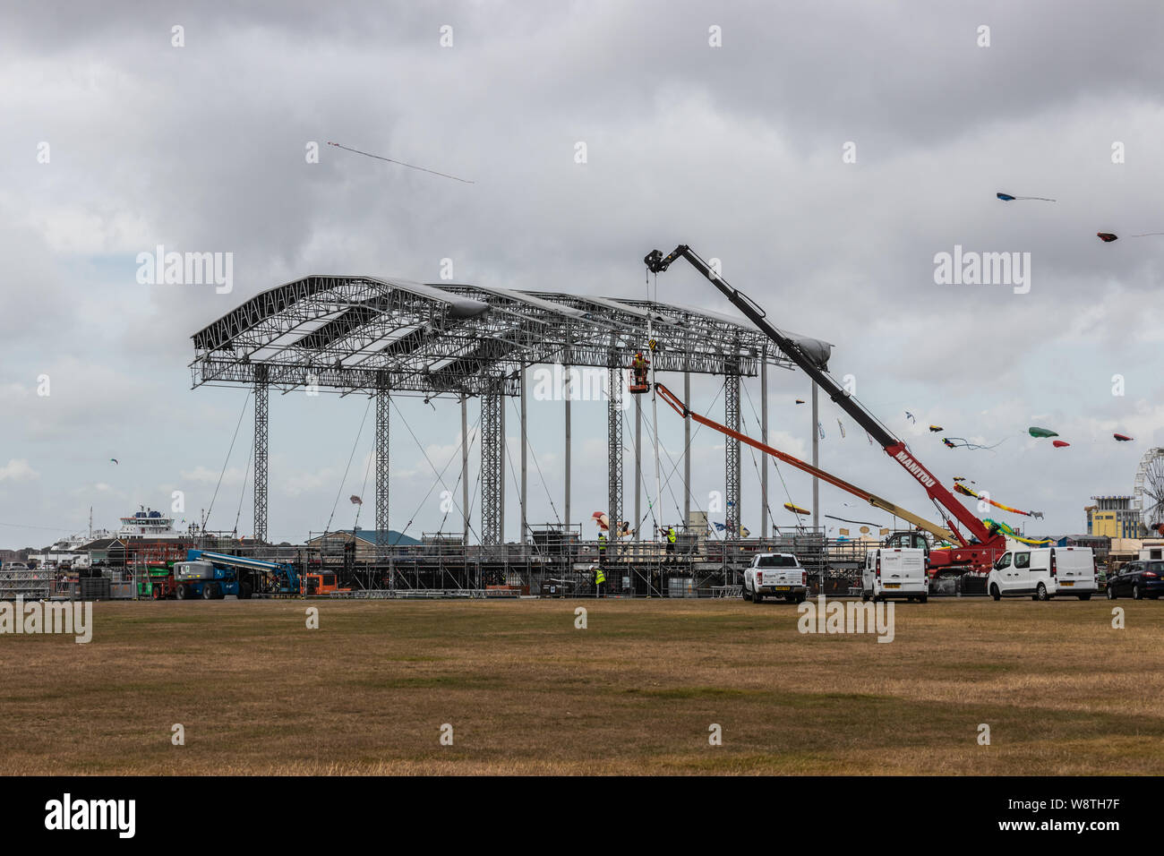 The main stage for Portsmouth's Victorious festival being built at Southsea common Stock Photo