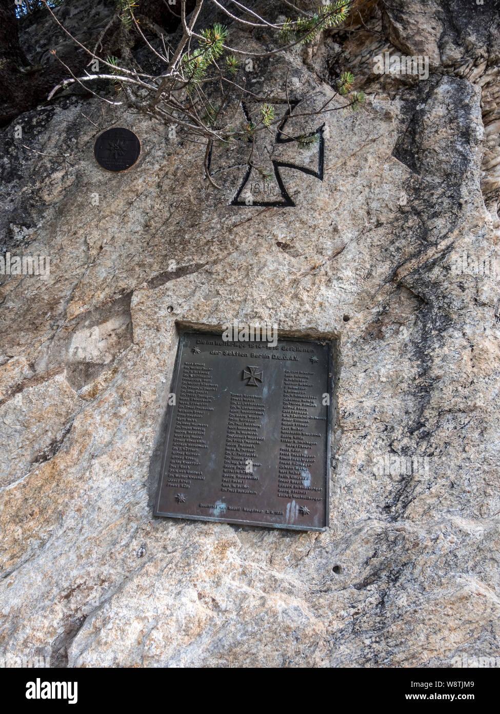 The DAV German Alpine Club war memorial near the Berliner Hut in the Zillertal Alps close to the resort town of Mayrhofen in the Austrian Tirol Stock Photo