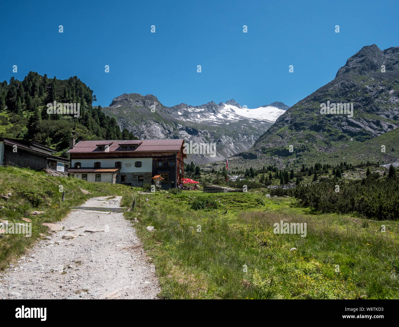 The Alpenrose hut mountain refuge in the Zemmgrund valley not far from the resort town of Mayrhofen in the Zillertal Alps of the Austrian Tirol Stock Photo