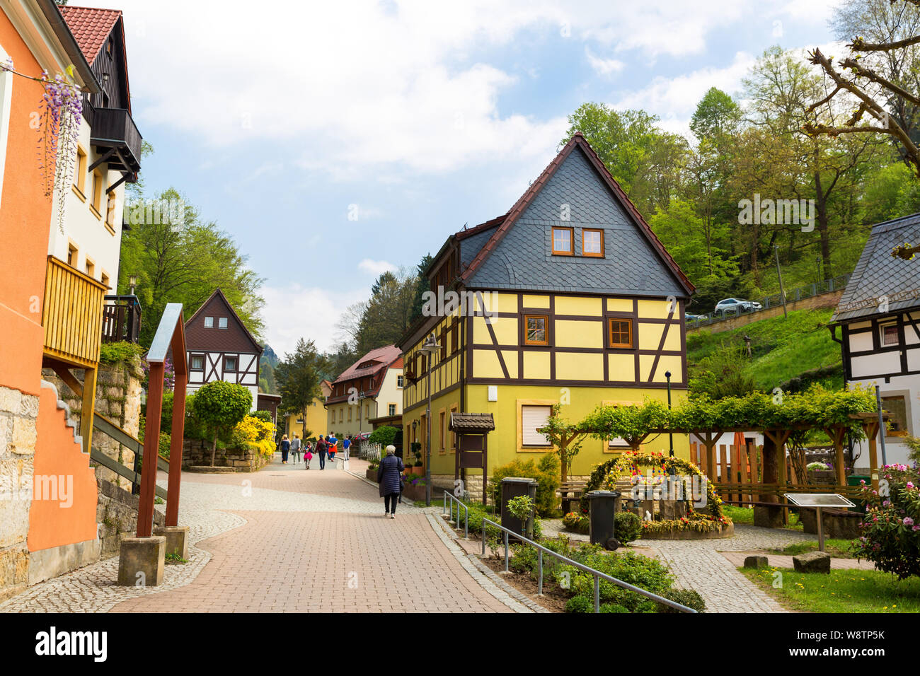 Germany, provincial town street, european style Stock Photo