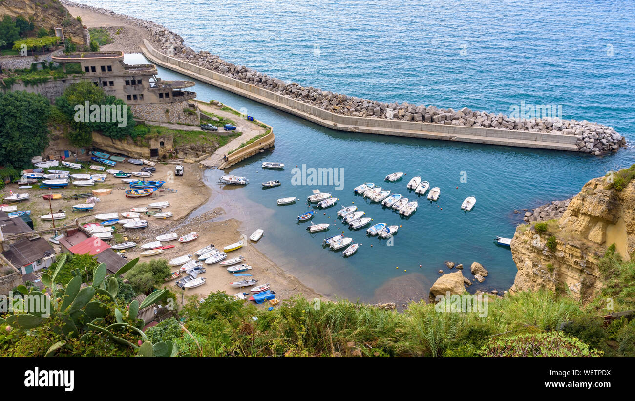 Aerial view of small boat pier in Pizzo, Calabria, Italy Stock Photo