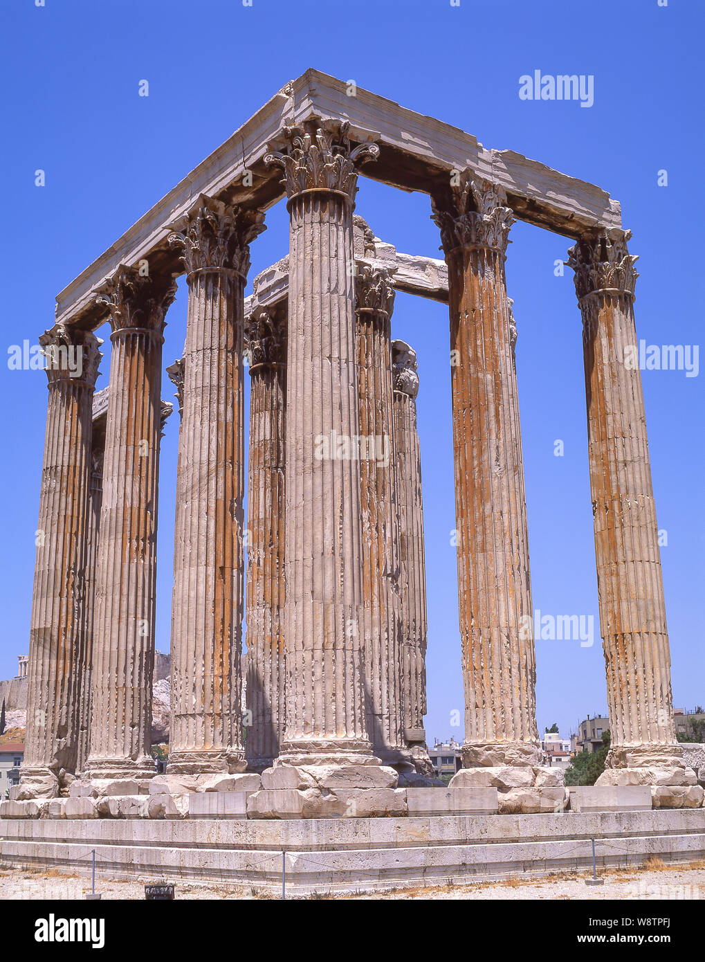 Corinthian columns, The Temple of Olympian Zeus, Athens, Central Athens, Greece Stock Photo