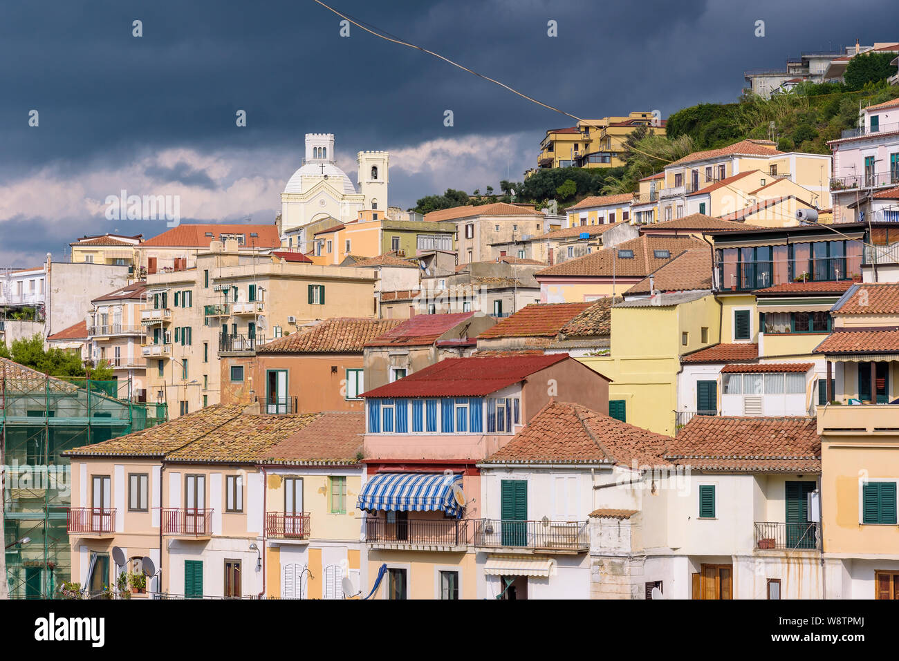 View of residential buildings in Pizzo just before the storm. Stock Photo