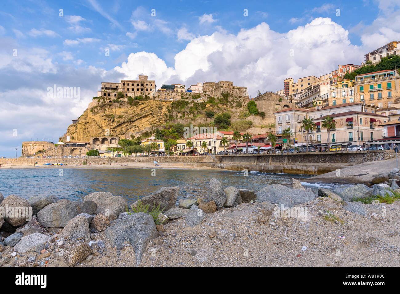 View of sea wharf in Pizzo town in Calabria, southern Italy Stock Photo