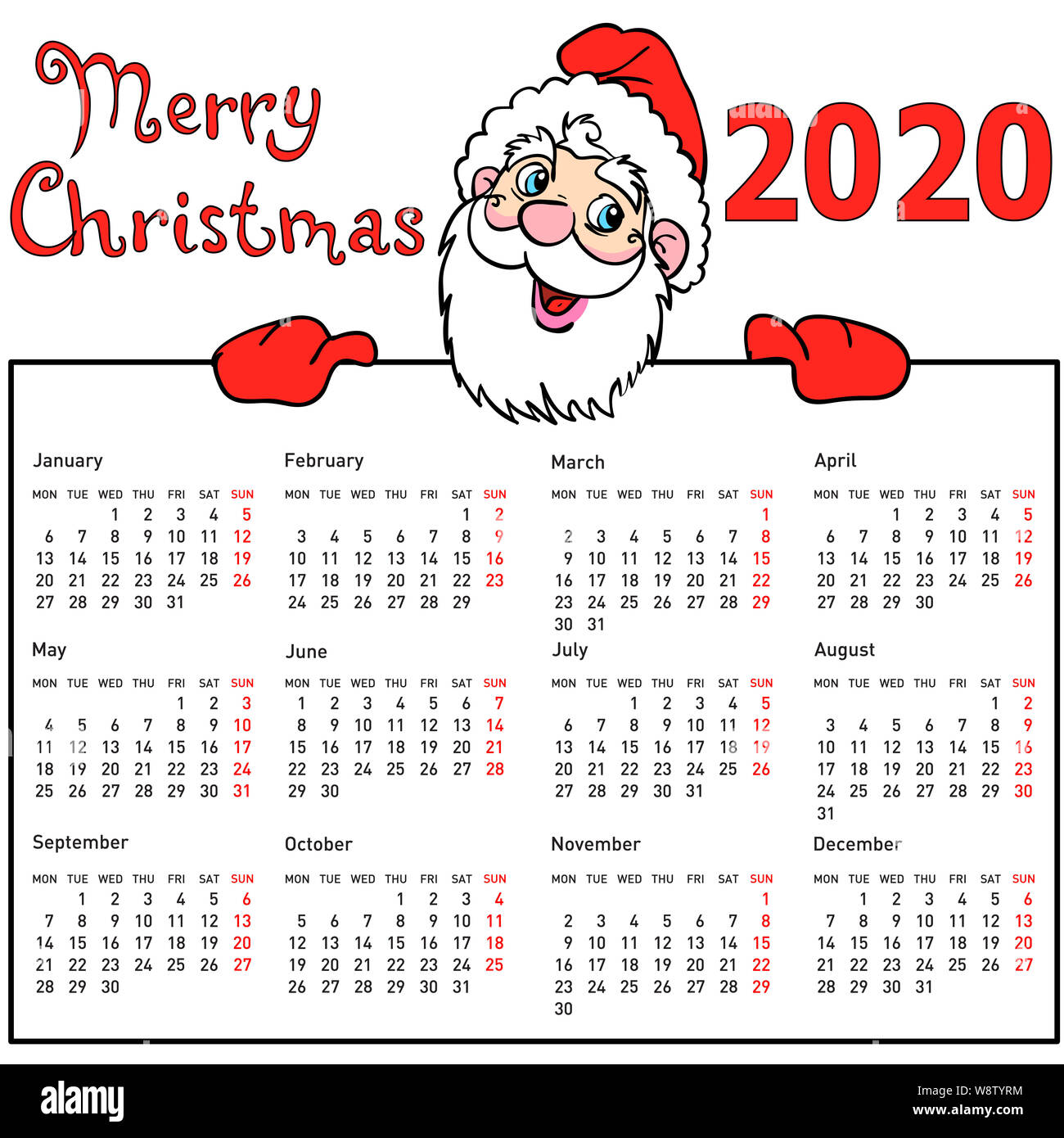 Christmas Santa Claus In July Sales 2020 Stylish calendar withmuscular Santa Claus for 2020 Stock Photo   Alamy