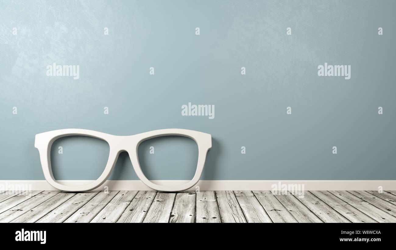 White Glasses Frame 3D Shape on Wooden Floor Against Blue