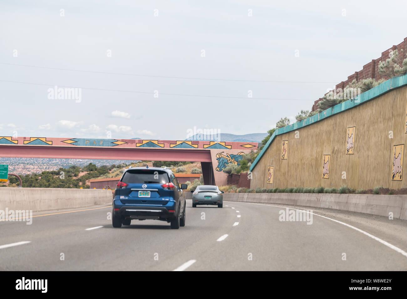 Santa Fe, USA - June 17, 2019: Road US Highway 285 in New